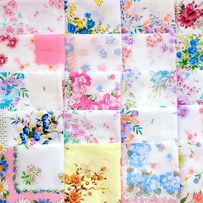 New Women Ladies Child Cotton Flower Vintage Lot Handkerchiefs Quadrate Hankies