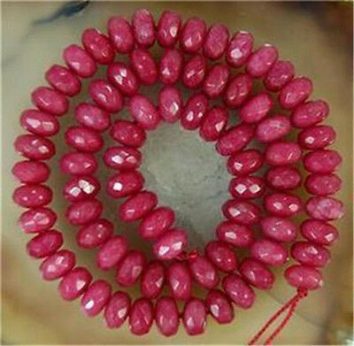 """Wholesale 5 Strands 5x8mm Brazilian Ruby Abacus Gems Rondelle Loose Beads 15"""""""