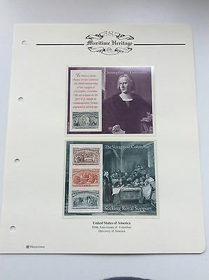 3 x PAGES OF 500th ANNIVERSARY OF CHRISTOPHER COLUMBUS.  1992.  (U. S. A. )