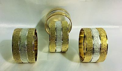 4 Gold Plated / Silcer Plated Napkin Rings (Set Of 4) - NEW