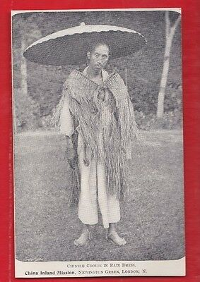 China inland mission, Chinese coolie in rain dress, Postcard