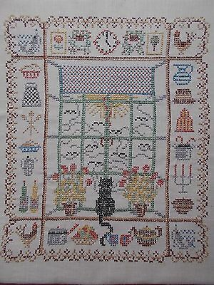 Vintage Cross Stitch Embroidered Tapestry Sampler~Black Cat Sitting In A Window