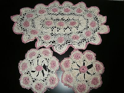 Three Vintage Hand Crocheted Irish Cotton Lace Table Mats/doilies~Beige & Pink