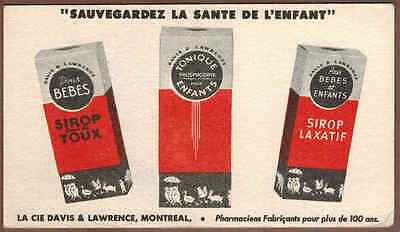 DAVIS & LAWRENCE COUGH SYRUP, MONTREAL, QUE: Scarce CANADIAN Ink Blotter (1930)