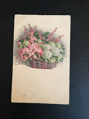 Antique Postcard of A Basket Of Flowers