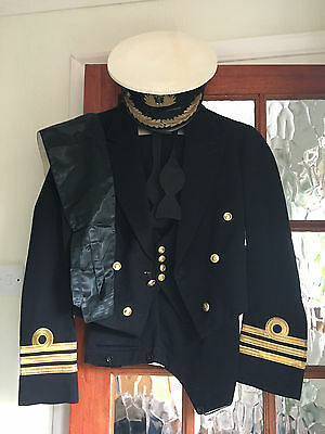 Royal Navy Commanders Mess Dress Uniform & Cap Lovely Used Condition