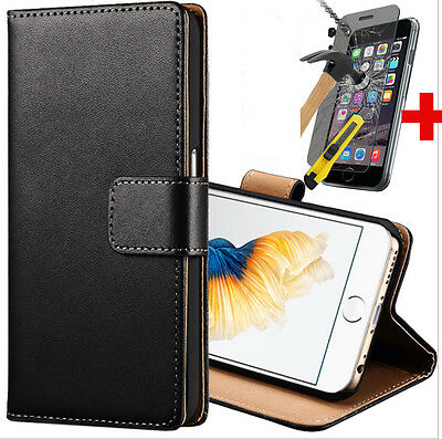 Card Holder Cover Slim Leather Case For iPhone 6S 6 Free Tempered Glass