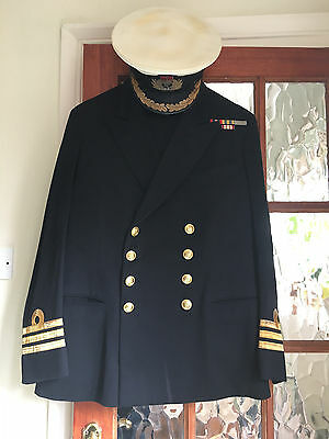Royal Navy Commanders Dress Uniform & Cap Lovely Used Condition Gieves