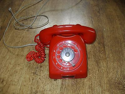 Vintage Ericsson Red Rotary Dial Telephone working Order