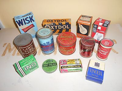 COLLECTION OF 14 VINTAGE HOUSEHOLD ITEMS - 1950s or EARLIER -MOST WITH CONTENTS