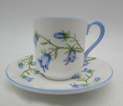 RARE Shelley MINIATURE Cup and Saucer HAREBELL Blue & White Flowers 13590