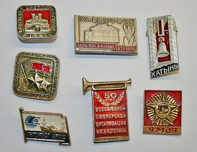 7 x Vintage SOVIET/RUSSIAN pin badge collection (USSR/Communist/Soviet Union)
