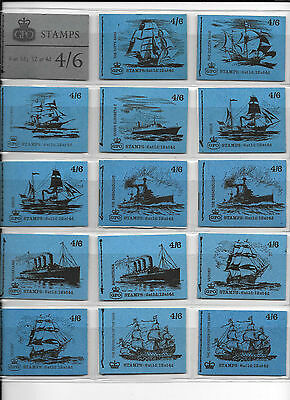 Pre decimal Machin - 4/6d stitched booklets - complete run of 15unmounted mint