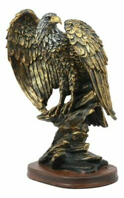"American Patriotic Large Bald Eagle Perched On Rocky Cliff Resin Figurine 10""H"