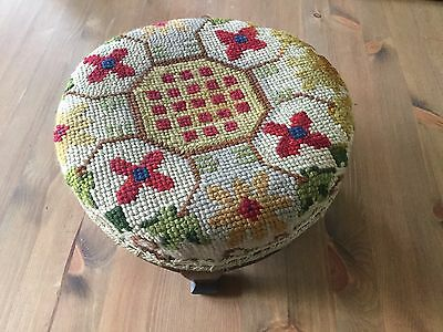 antique footstool, tapestry