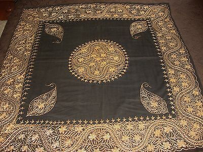 Antique Hand Embroidered Gold Metallic Thread Black Table Cover Boteh Paisley