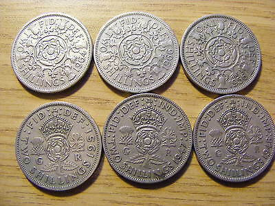 A Collection of 6 Florin Coins - dates  1947 - 1966 -