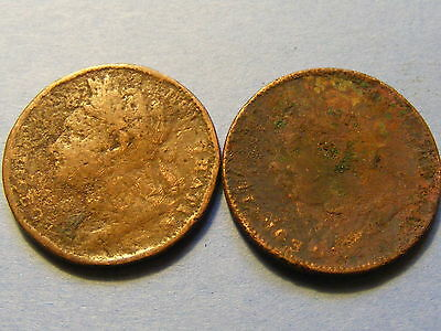 2 x George IV Farthing Coins - 22mm Dia   - Very Worn