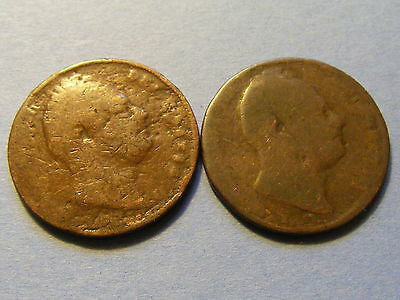 2 x William IV Farthing Coins - 22mm Dia   - Very Worn