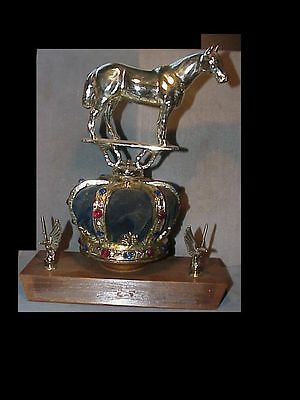 C1940s-1950s HUGE heavy vintage HORSE TROPHY with CROWN