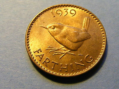 1939 George VI Farthing Coin  - Much Luster -