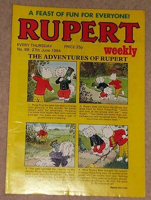 RUPERT BEAR WEEKLY COMIC NO. 89 DATED 27th JUNE 1984