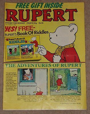 RUPERT BEAR WEEKLY COMIC NO. 74 DATED 14th MARCH 1984 COMPLETE WITH FREE GIFT