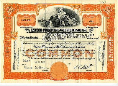 United Printers and Publishers - 20 Shares - Februar 1959