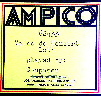 AMPICO Loth VALSE DE CONCERT L. Leslie Loth 62433 Reproducing Player Piano Roll