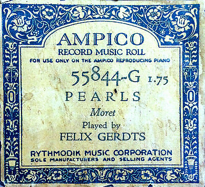 AMPICO Moret PEARLS Felix Gerdts 55844-G Reproducing Player Piano Roll