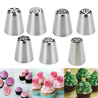 7Pcs Silver Steel Cake Icing Piping Decorating Nozzles Tips Baking Tool Hot
