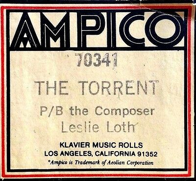 AMPICO (ReCut) P/B THE TORRENT Leslie Loth 70341 Player Piano Roll