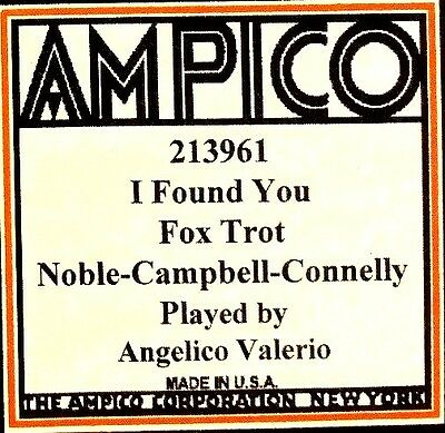 AMPICO (ReCut) I FOUND YOU Angelico Valerio 213961 Player Piano Roll