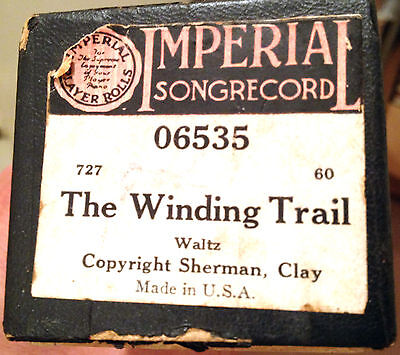 "IMPERIAL Songrecord ""THE WINDING TRAIL"" Hand Played Player Piano Roll 06535"