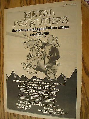 metal for muthas, iron maiden 1980 tour advert, poster size press advert