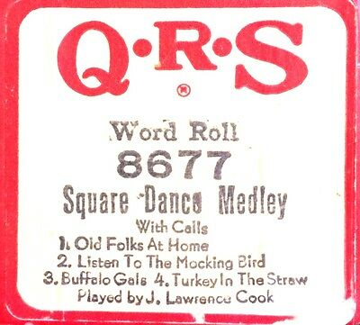 QRS Word Roll SQUARE DANCE MEDLEY (With Calls) 8677 J. L. Cook Player Piano Roll