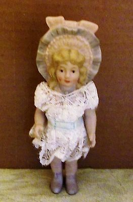 """1940's ALL BISQUE DOLL 6"""" SIZE, MOLDED HAT"""