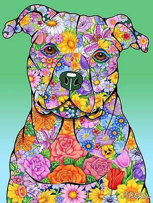 Large Indoor/Outdoor Flowers (TP) Flag - Pit Bull Terrier 96093