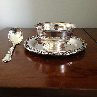 Wm A Roger Gravy Bowl Plater/Dip Bowl, attached plate, with  Ladle Spoon