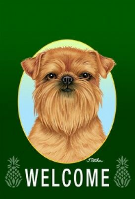 Garden Indoor/Outdoor Welcome Flag (Green) - Brussels Griffon 741281