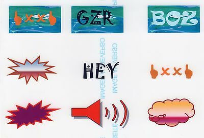 Set Of 9 Smart Graffiti Clear Vinyl Stickers ~ Decals For Model Rail Oo Scale