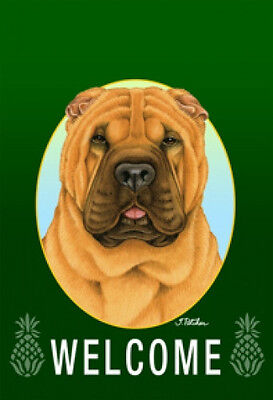 Garden Indoor/Outdoor Welcome Flag (Green) - Shar Pei 740531