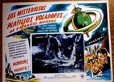 THE FLYING SAUCER 1950 Horror Sci-Fi Lobby Card MIKEL CONRAD PAT GARRISON