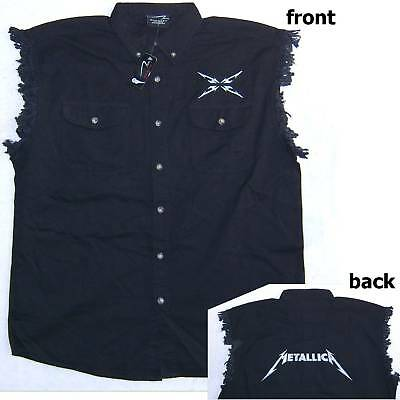 Metallica Name Logo Blk Cut Off Denim Shirt Xl X-Large Vest New Official