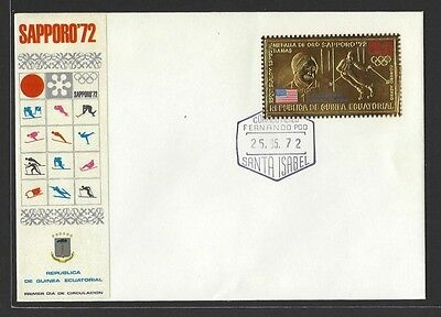 Equatorial Guinea 1972 Saporro Winter Olympics gold stamps on 5 FDCs