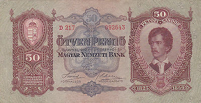 50 Pengo From Hungary 1932!vf Crispy Banknote!pick-99!!!