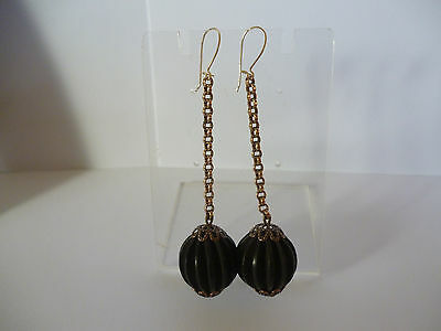 Stunning Antique Vulcanite Round Carved Fluted Rolled Gold Drop Earrings
