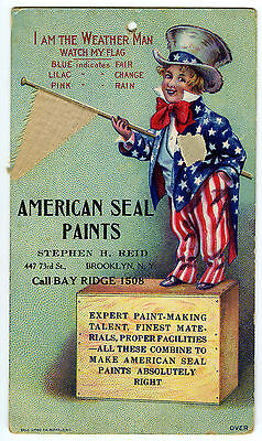 VICTORIAN ERA LITHO TRADE ADVERT CARD c1890 AMERICAN SEAL PAINTS N.Y & UNCLE SAM