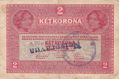 "2 Korona With Contemporary Fake Stamp+ Cancellation""nespravna""""invalid""1919N.b"