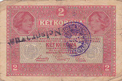 "2 Korona With Contemporary Fake Stamp+ Cancellation""nespravna""""invalid""1919N.e"